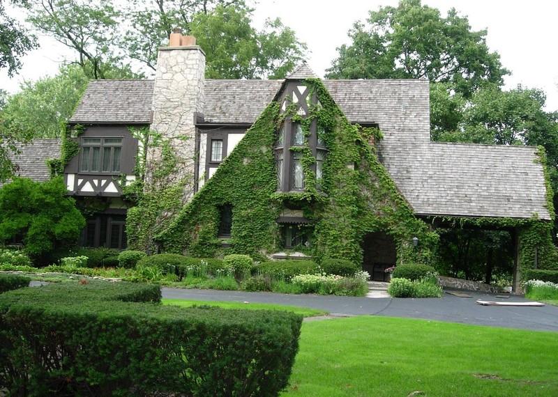 Дом в английском стиле с вьющимся растениям