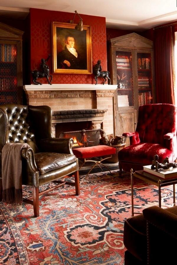 гостиная с камином в английском стиле