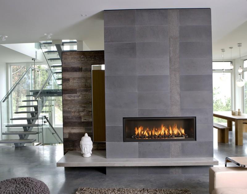 Декоративный камин в интерьере в стиле модерн