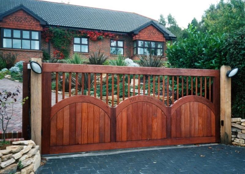Красивый дизайн откатных ворот фото