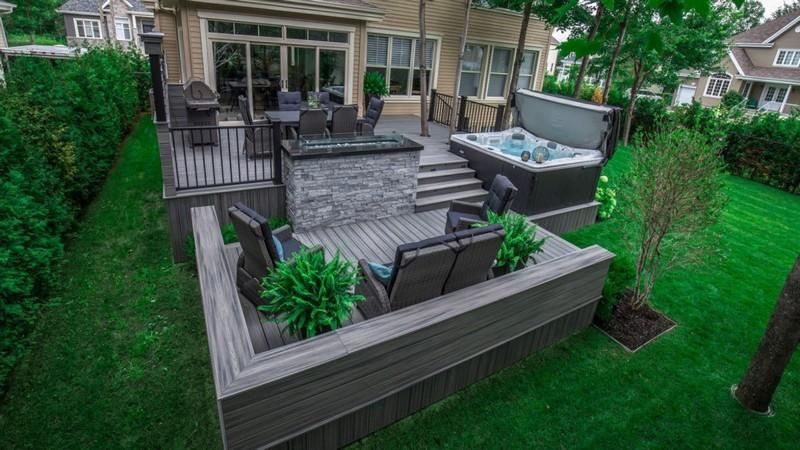 Ландшафтный дизайн участка частного дома с террасой