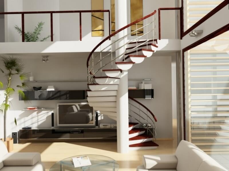 Интересный проект белой лестницы с красными ступенями