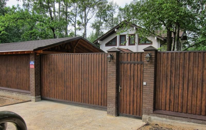 красивые ворота с калиткой из профнастила фото