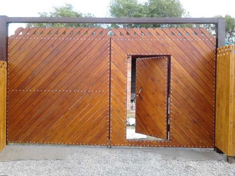 ворота со встроенной калиткой фото