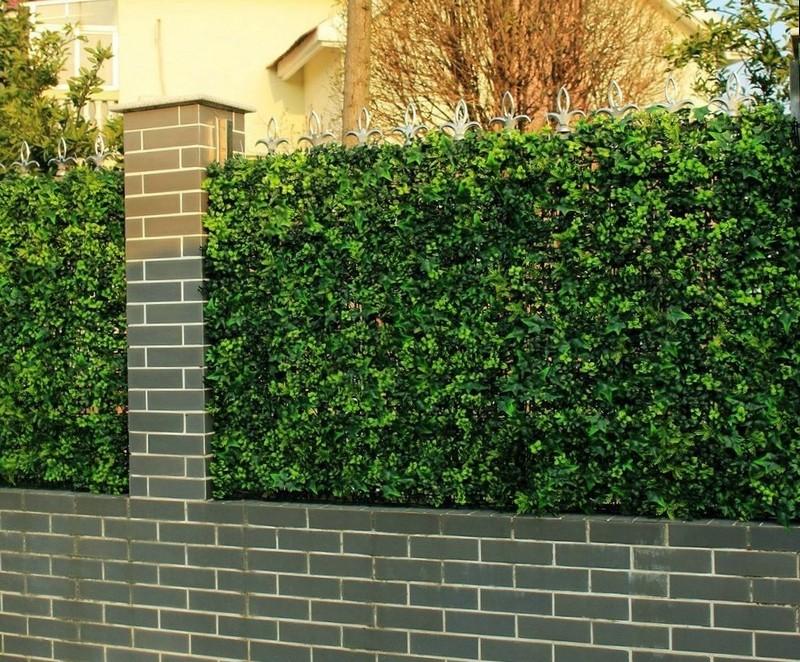 Живой зеленый забор в сочетании с кирпичным