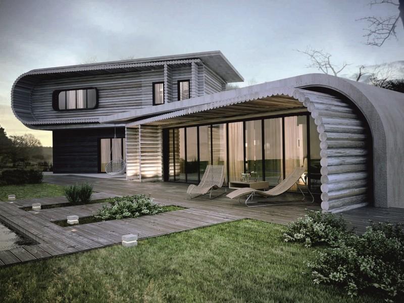 небольшой современный деревянный дом