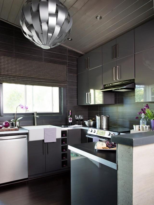 дизайн интерьера кухни в стиле хай тек