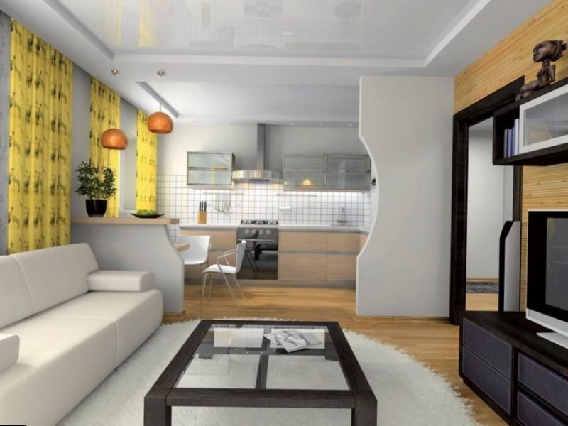 Разделение кухни с гостинной с помощью гипсокартона