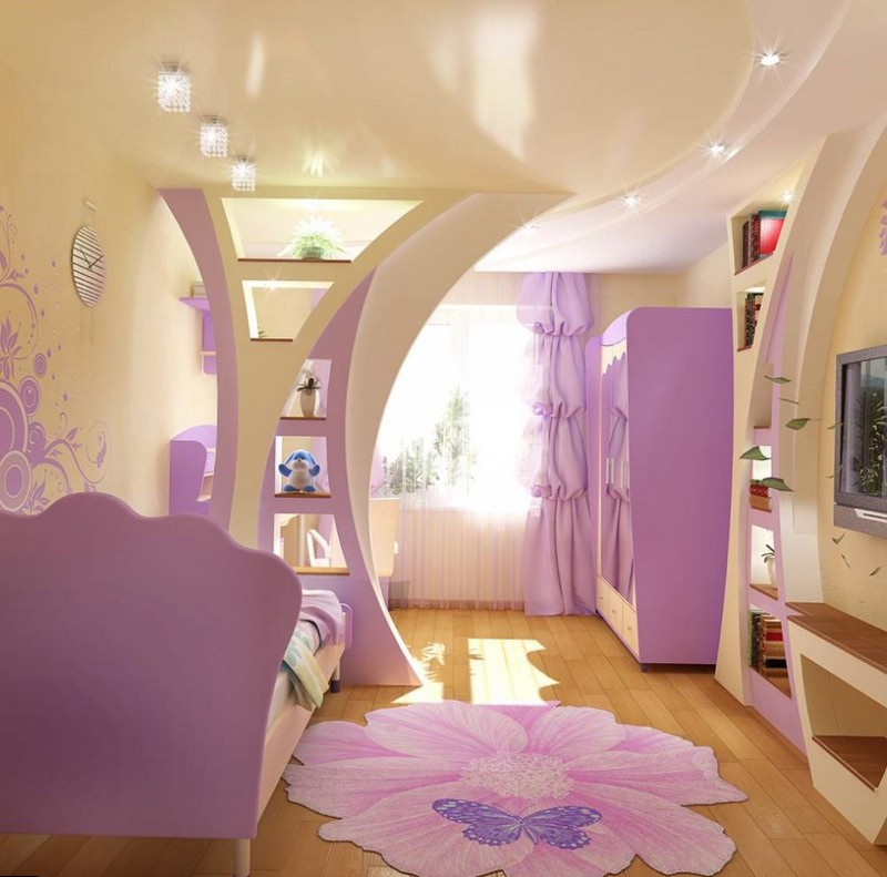 Красивое зонирование детской комнаты