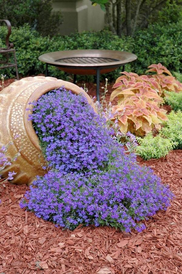 Клумба цветочный ручей